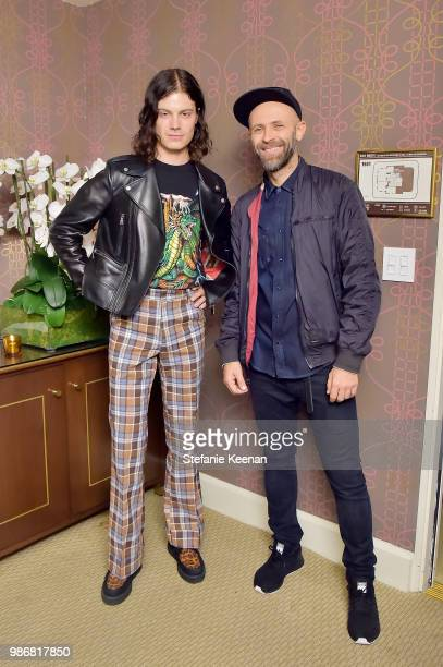 Borns and Stefano Rosso attend Diesel Presents Scott Lipps Photography Exhibition 'Rocks Not Dead' at Sunset Tower on June 28 2018 in Los Angeles...