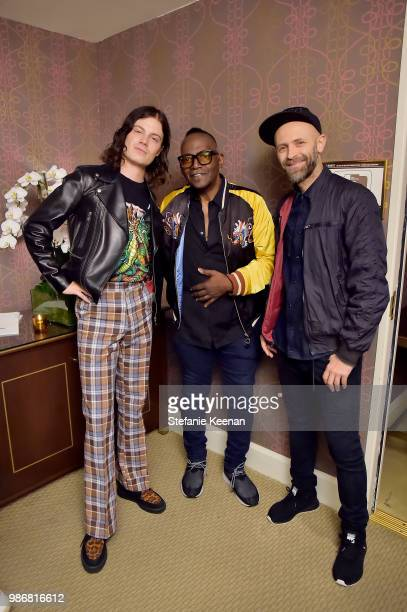 Borns Randy Jackson and Stefano Rosso attend Diesel Presents Scott Lipps Photography Exhibition 'Rocks Not Dead' at Sunset Tower on June 28 2018 in...