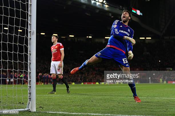 Boro goalkeeper Tomas Mejias celebrates after Michael Carrick of Man Utd missed his penalty during the shoot-out in the Capital One Cup Fourth Round...