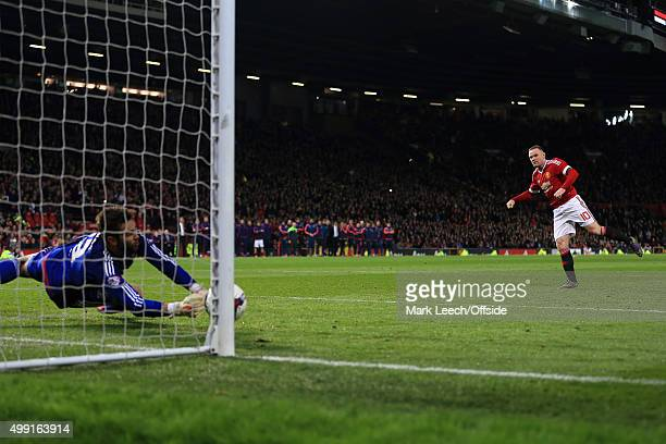 Boro goalkeeper Tomas Mejias saves a penalty from Wayne Rooney of Man Utd during the shoot-out in the Capital One Cup Fourth Round match between...