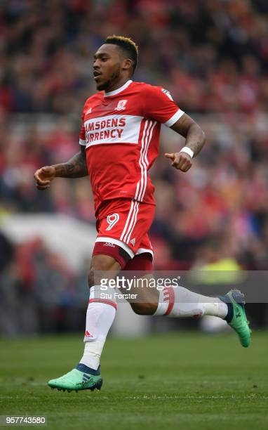 Boro player Britt Assombalonga in action during the Sky Bet Championship Play Off Semi Final First Leg match between Middlesbrough and Aston Villa at...
