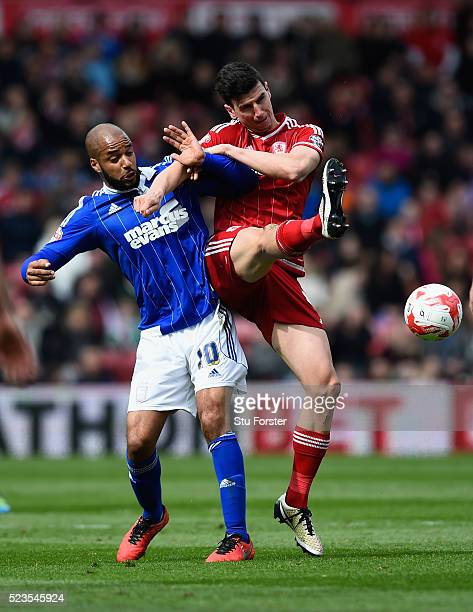Boro player Daniel Ayala challenges David McGoldrick of Ipswich during the Sky Bet Championship match between Middlesbrough and Ipswich Town at the...