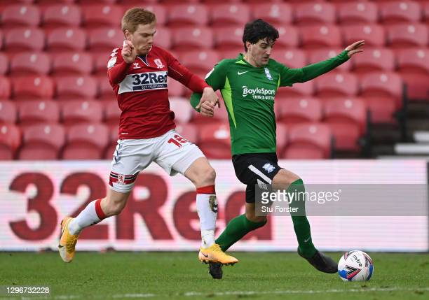 Boro player Duncan Watmore challenges Mikel San Jose during the Sky Bet Championship match between Middlesbrough and Birmingham City at Riverside...