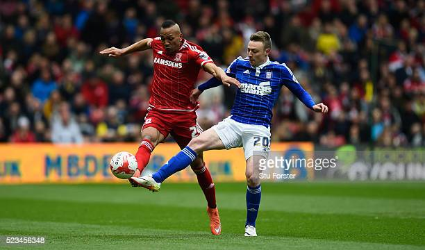 Boro player Emilio Nuse challenges Freddie Sears of Ipswich during the Sky Bet Championship match between Middlesbrough and Ipswich Town at the...