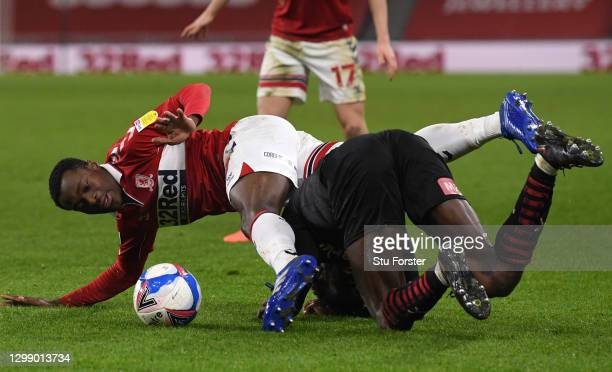Boro player Marc Bola gets in a tangle with Matthew Olosunde of Rotherham during the Sky Bet Championship match between Middlesbrough and Rotherham...