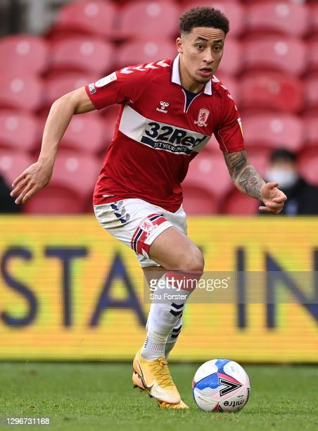 Boro player Marcus Tavernier in action during the Sky Bet Championship match between Middlesbrough and Birmingham City at Riverside Stadium on...