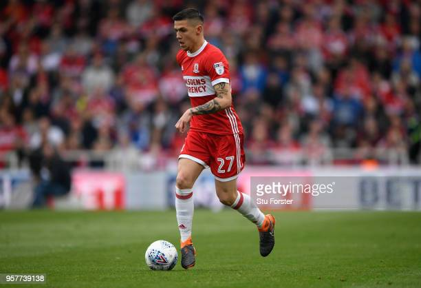 Boro player Muhamed Besic in action during the Sky Bet Championship Play Off Semi Final First Leg match between Middlesbrough and Aston Villa at...