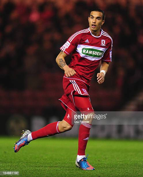 Boro player Seb Hines in action during the npower Championship match between Middlesbrough and Hull City at Riverside Stadium on October 23, 2012 in...