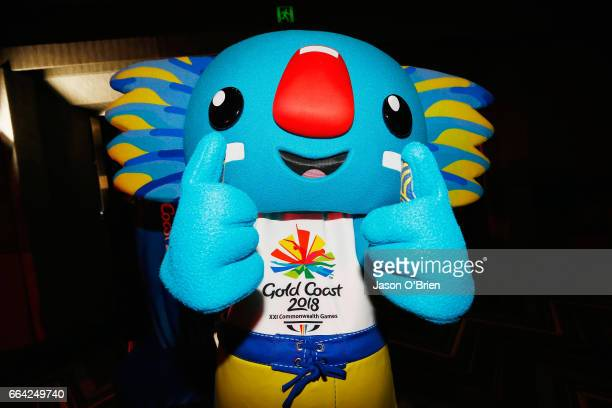 'Borobi' the 2018 Gold Coast Commonwealth Games mascot is seen during the 2018 Commonwealth Games One Year To Go ceremony at The Star Gold Coast on...