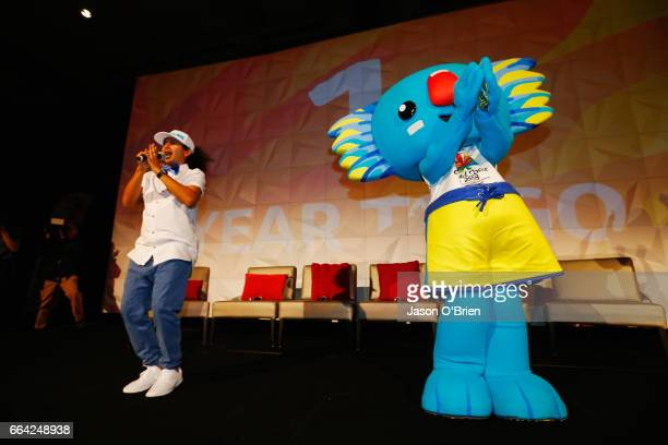 ' Borobi ' the Gold Coast Commonwealth Games mascot performs on stage during the 2018 Commonwealth Games One Year To Go ceremony at The Star Gold...