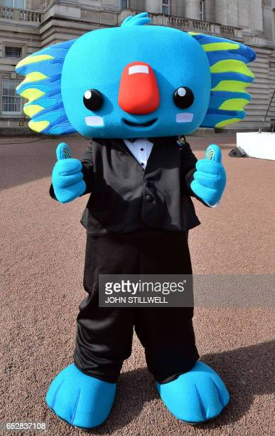 Borobi the mascot for the 2018 Gold Coast Commonwealth Games poses during the launch of the Queen's baton Relay for the XX1 Commonwealth Games to be...