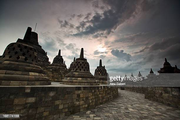 borobudur temple, a world heritage site in central java. - alex saberi stock pictures, royalty-free photos & images