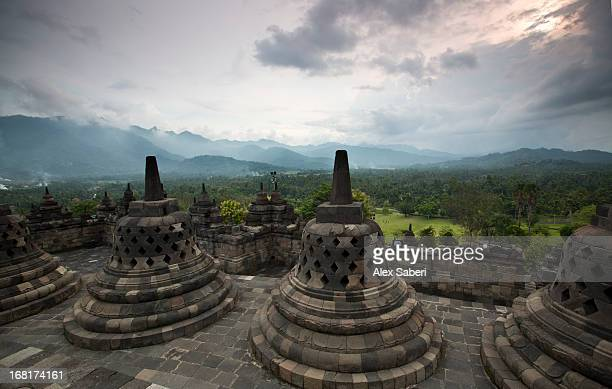 borobudur temple, a world heritage site in central java. - alex saberi stock-fotos und bilder