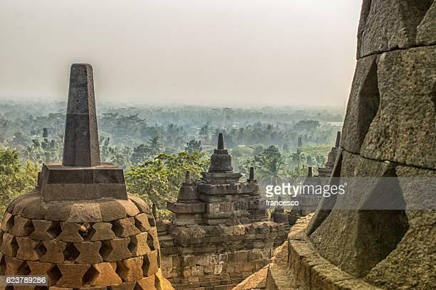 Borobudur Temple and foggy forest