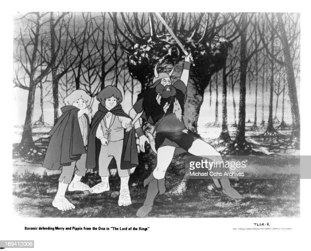 Boromir defends Merry and Pippin in a scene from the film 'The Lord Of The Rings' 1978