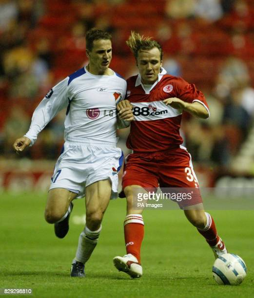 Boro's Bolo Zenden and Zdenek Pospech of Banik Ostrava during the UEFA Cup First Round, First Leg, tie at the Riverside Stadium, Middlesbrough. THIS...