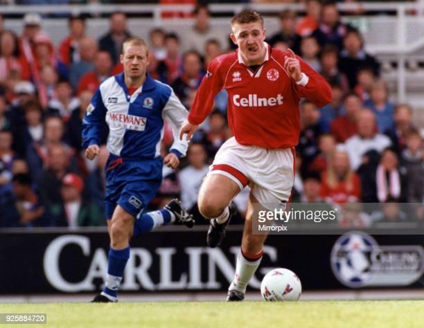 Boro's Jamie Pollock tries an early break against Blackburn Rovers Middlesbrough FC v Blackburn Rovers 30th September 1995