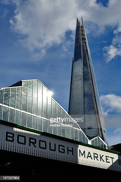 borough market and the shard tower - borough market stock pictures, royalty-free photos & images