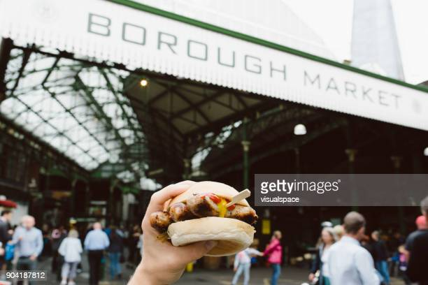 borough market - street food - borough market stock pictures, royalty-free photos & images
