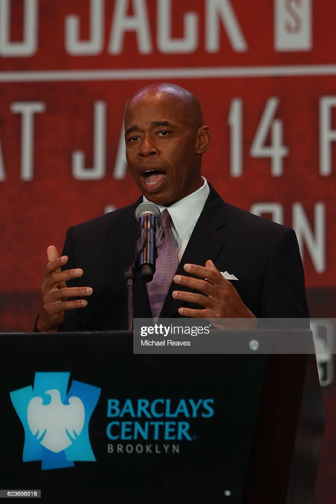 Borough President of Brooklyn Eric Adams addresses the crowd during the press conference announcing the Badou Jack v James DeGale Super Middleweight World Title Unification Bout at Barclays Center on November 16, 2016 in the Brooklyn borough of New York City.