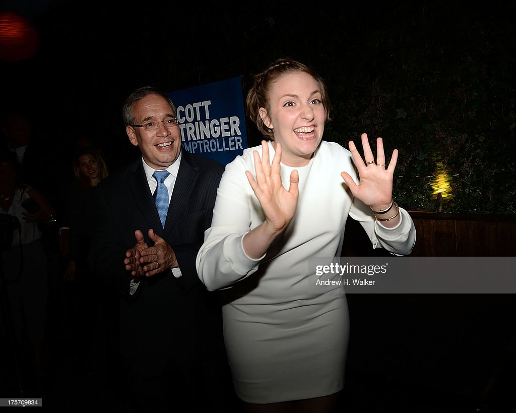 Borough President of Manhattan and candidate for NYC Comptroller Scott Stringer and actress Lena Dunham attend the Young New York Fundraiser in support of Scott Stringer for NYC Comptroller at Maritime Hotel on August 6, 2013 in New York City.