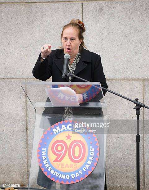 Borough President of the New York City borough of Manhattan Gale Brewer speaks at the Macy's Unveiling of the Starting Line Plaque On The Upper West...