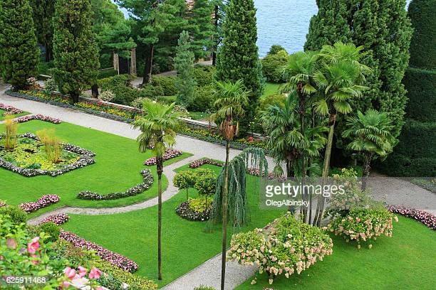 borromeo palace garden on isola bella, lake maggiore, italy. - palace stock pictures, royalty-free photos & images