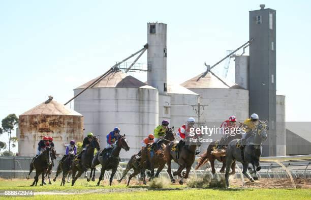 Borrowdale Boy ridden by John Keating wins the McKnight Bray Building Design Maiden Plate at Kerang Racecousre on April 15 2017 in Kerang Australia