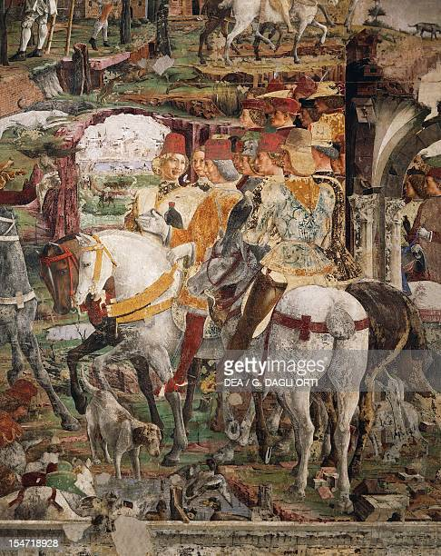 Borso d'Este departing for the hunt scene from Month of March ca 1470 by Francesco del Cossa fresco east wall Hall of the Months Palazzo Schifanoia...