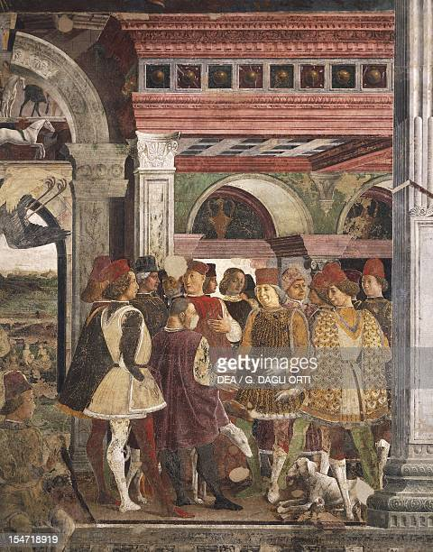 Borso d'Este giving a coin to the court jester scene from Month of April ca 1470 by Francesco del Cossa fresco east wall Hall of the Months Palazzo...