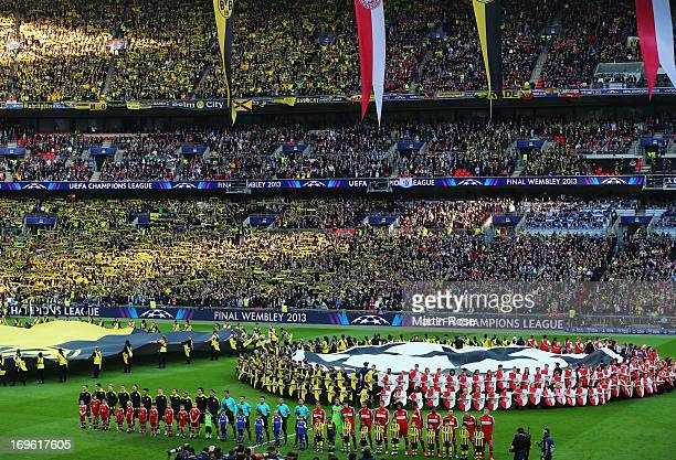 Borussia Dortmund and Bayern Munich line up prior to the UEFA Champions League final match between Borussia Dortmund and FC Bayern Muenchen at...