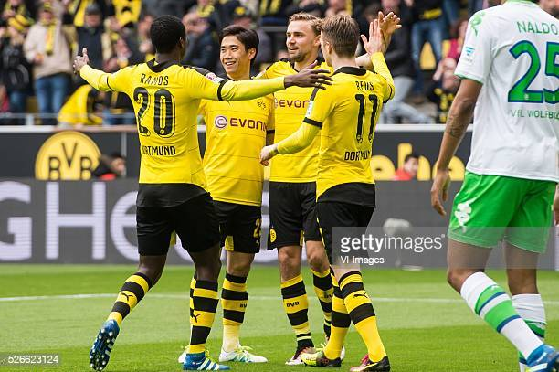 Borussia Dortmund celebrate a goal of Shinji Kagawa of Borussia Dortmund during the Bundesliga match between Borussia Dortmund and VfL Wolfsburg on...