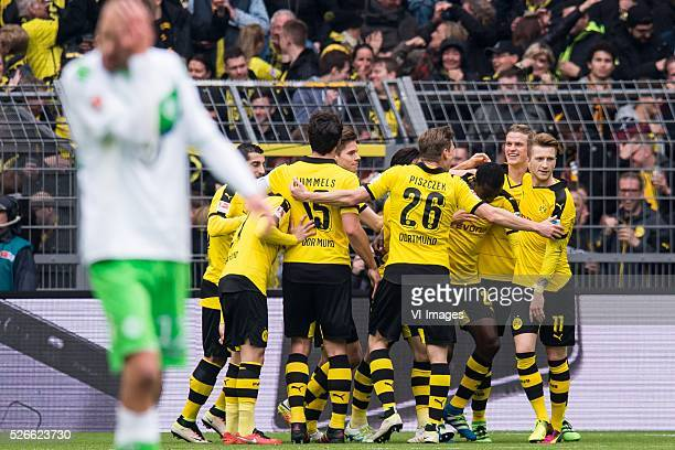 Borussia Dortmund celebrate the goal of Marco Reus of Borussia Dortmund during the Bundesliga match between Borussia Dortmund and VfL Wolfsburg on...