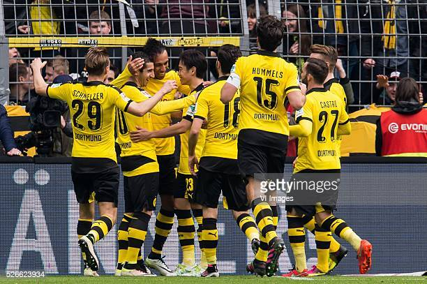 Borussia Dortmund celebrate the goal of PierreEmerick Aubameyang of Borussia Dortmund during the Bundesliga match between Borussia Dortmund and VfL...