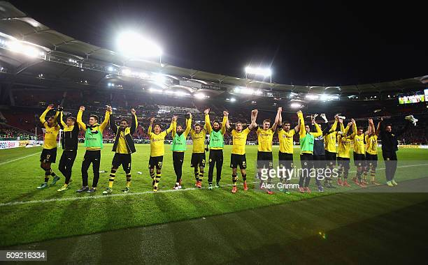 Borussia Dortmund celebrate victory after the DFB Cup Quarter Final match between VfB Stuttgart and Borussia Dortmund at MercedesBenz Arena on...