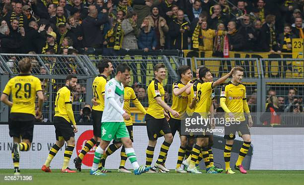 Borussia Dortmund celebrates a goal during their Bundesliga soccer match between Borussia Dortmund and VfL Wolfsburg at the SignalIduna stadium in...