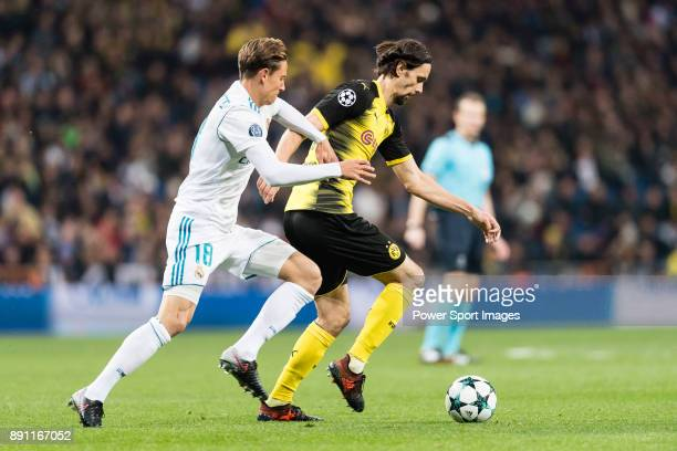 Borussia Dortmund Defender Neven Subotic in action against Marcos Llorente of Real Madrid during the Europe Champions League 201718 match between...