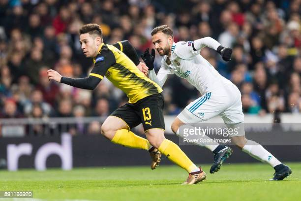 Borussia Dortmund Defender Raphael Guerreiro fights for position with Borja Mayoral of Real Madrid during the Europe Champions League 201718 match...