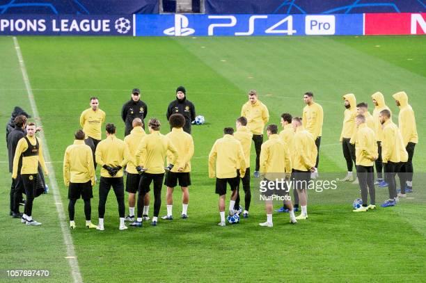 Borussia Dortmund during training session the day before UEFA Champions League match between Atletico de Madrid and Borussia Dortmund at Wanda...