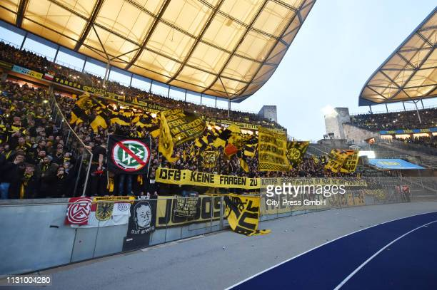Borussia Dortmund fans before the German Bundesliga match between Hertha BSC and Borussia Dortmund at the Olympiastadion on march 16 2019 in Berlin...