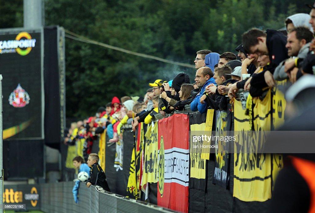 Borussia Dortmund fans during the pre-season friendly match between Sunderland AFC and Borussia Dortmund at Cashpoint Arena on August 5, 2016 in Altach, Austria.