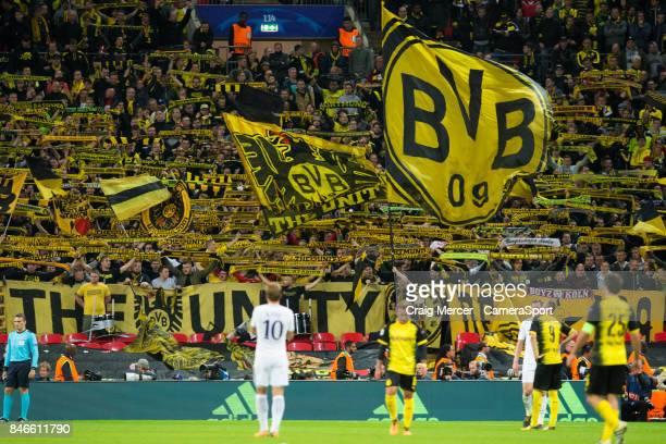 Borussia Dortmund fans during the UEFA Champions League group H match between Tottenham Hotspur and Borussia Dortmund at Wembley Stadium on September...