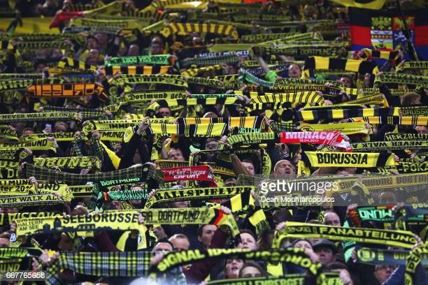 Borussia Dortmund fans during the UEFA Champions League Quarter Final first leg match between Borussia Dortmund and AS Monaco at Signal Iduna Park on...