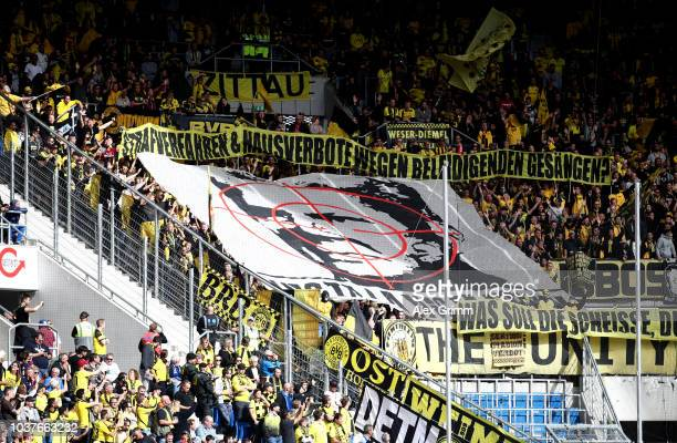 Borussia Dortmund fans show their support during the Bundesliga match between TSG 1899 Hoffenheim and Borussia Dortmund at Wirsol RheinNeckarArena on...