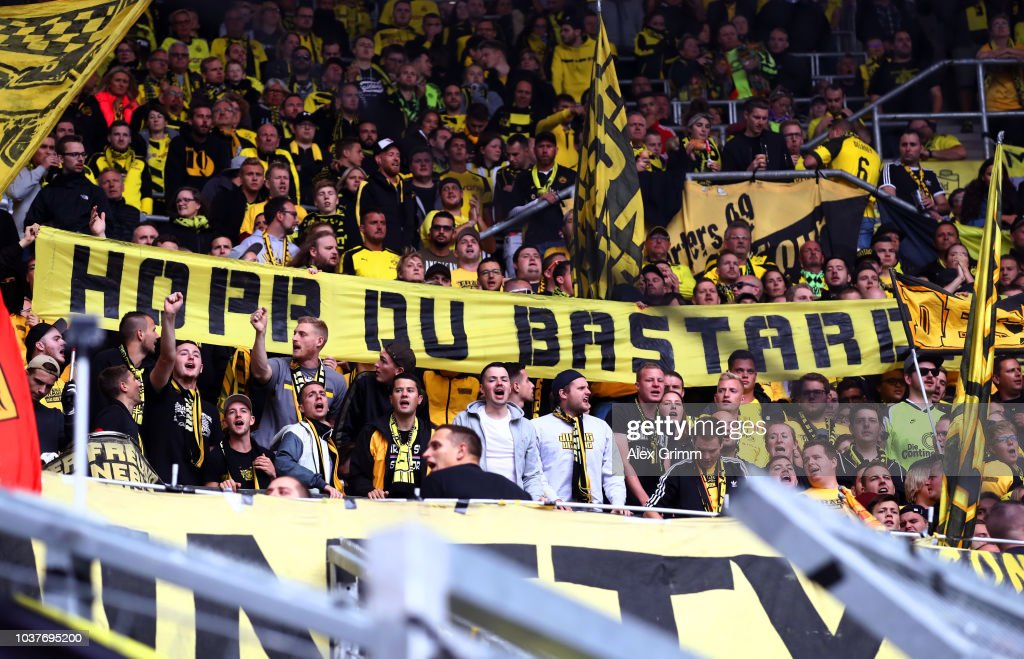 Borussia Dortmund fans show their support during the ...