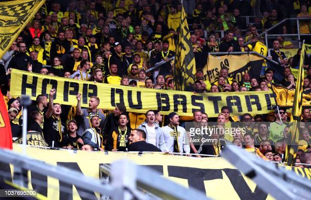 Borussia Dortmund fans show their support during the Bundesliga match between TSG 1899 Hoffenheim and Borussia Dortmund at Wirsol RheinNeckarArena on...