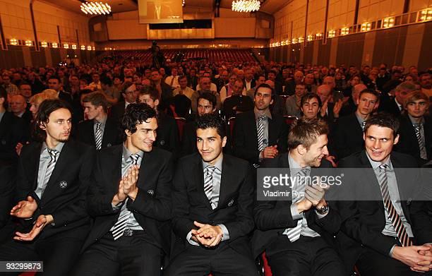 Borussia Dortmund football players Neven Subotic Mats Hummels Nuri Sahin Jakub Blaszczykowski and Sebastian Kehl are seen during the Borussia...