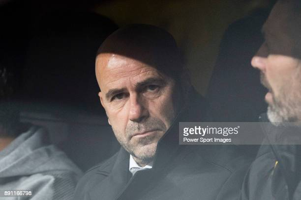 Borussia Dortmund Head Coach Peter Bosz during the Europe Champions League 201718 match between Real Madrid and Borussia Dortmund at Santiago...