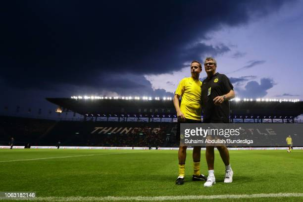 Borussia Dortmund legend Jorg Heinrich and Norbert Dickel at warm up before during the Return of the Legends match between Borussia Dortmund and...