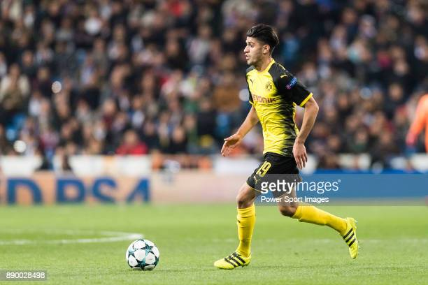 Borussia Dortmund Mahmoud Dahoud in action during the Europe Champions League 201718 match between Real Madrid and Borussia Dortmund at Santiago...